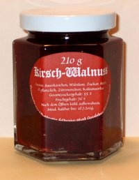 Sour sherry jam with walnuts